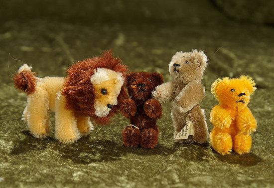 "3"" Four German miniature teddy bears and lion. $200/300"