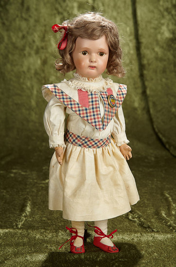 """16"""" American carved wooden doll by Schoenhut with brown eyes. $400/500"""