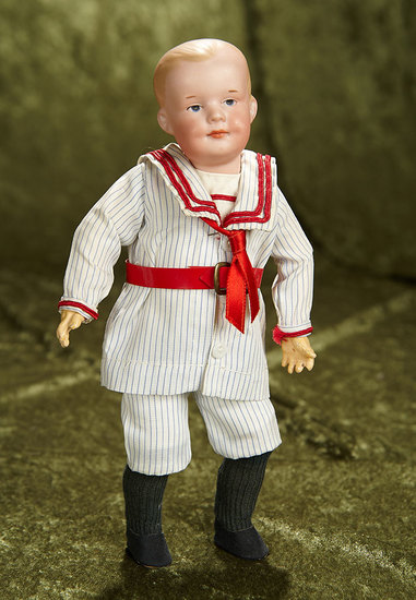 """10"""" German bisque smiling character, model 500, by Marseille in rare petite size. $400/500"""