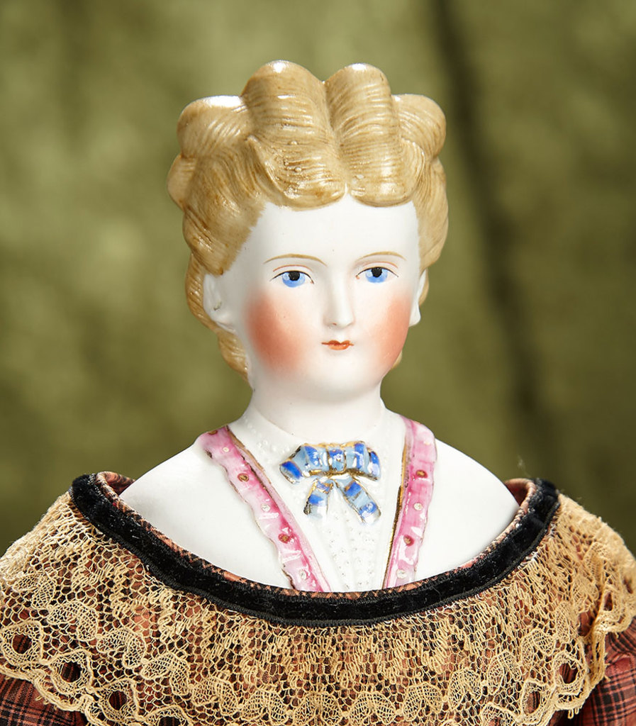 """17"""" German bisque lady with sculpted rare brown hair and decorated bodice. $800/1000"""