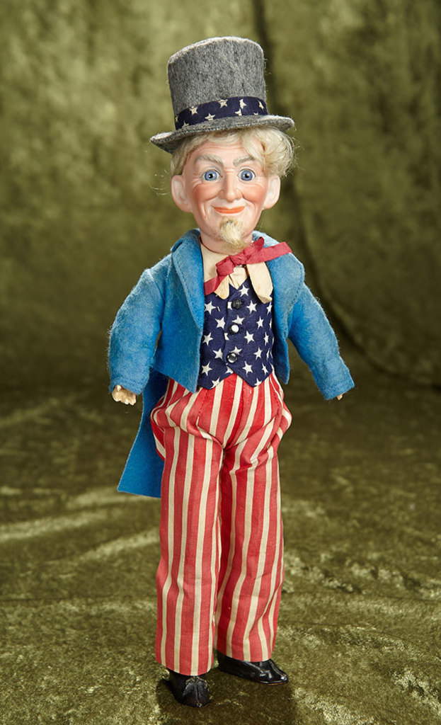 "13"" German Bisque Portrait of Uncle Sam by Dressel in Original Costume. $800/1200"