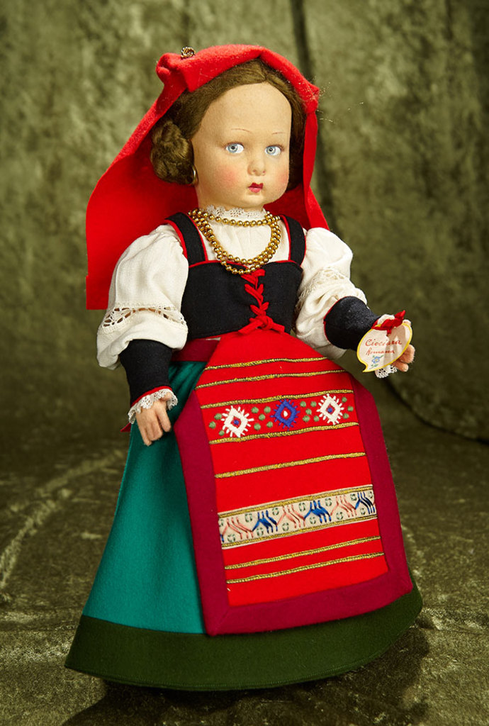"""16"""" Italian felt character girl by Lenci in exceptionally fresh costume, original label. $600/900"""