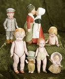Lot of German miniature all-bisque dolls and novelties. $300/400