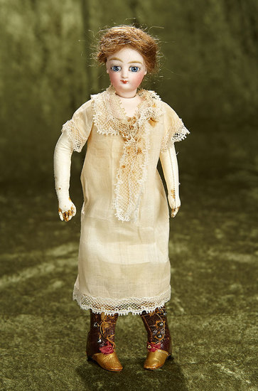"""11"""" Petite French Bisque Poupee with Dramatic Large Eyes attributed to Jumeau. $800/1100"""