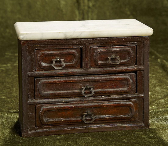 """9"""" Early wooden chest of drawers with white marble top and cast brass pulls. $300/400"""