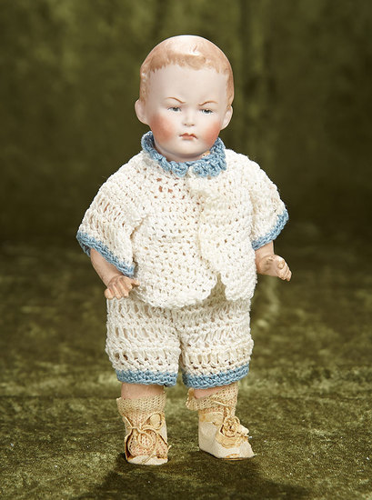 """8"""" German bisque toddler, 9591, by Gebruder Heubach with scowling expression. $400/500"""