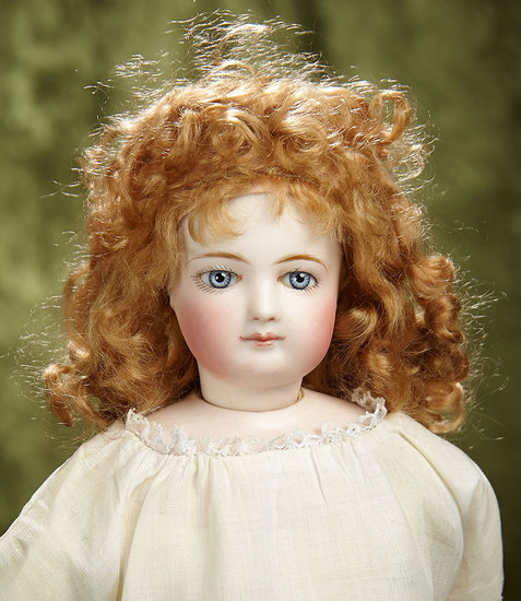 """17"""" French bisque poupee with especially beautiful painting of complexion and lips.$1800/2200"""