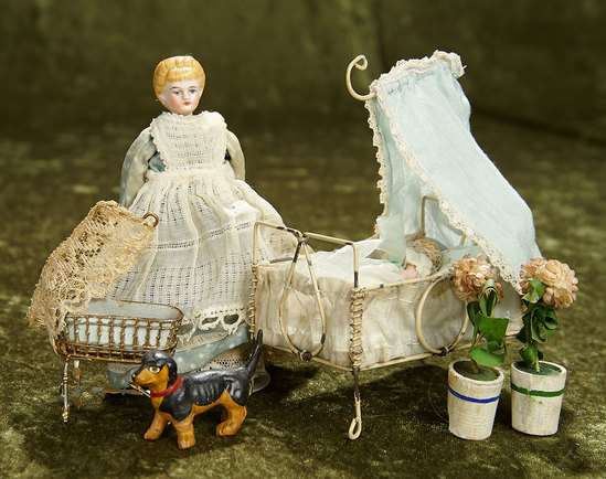 """5"""" German bisque dollhouse doll with cradle and all-bisque baby, dog, and more. $400/500"""