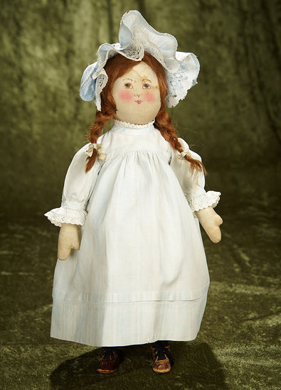 """15"""" Early version of American cloth hand-painted doll by Babyland Rag. $500/700"""