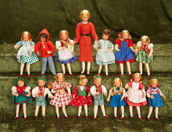 """3""""-5"""" Fifteen German dollhouse miniature dolls in original near mint condition by Caco. $300/400"""