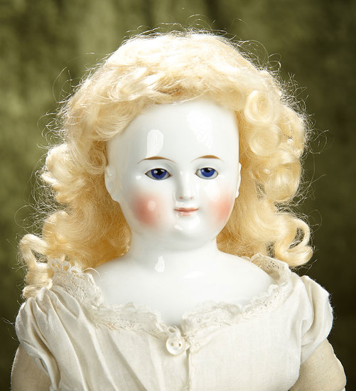 """19"""" German Porcelain Lady Doll with Wig and, Glass Sleep Eyes. $800/1000"""