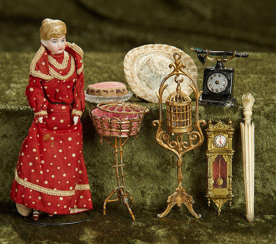 German bisque dollhouse lady with dollhouse miniatures. $400/500