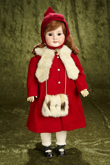 """22"""" German bisque doll, 1894, by Marseille with walking style body. $300/400"""