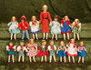 "3""-5"" Fifteen German dollhouse miniature dolls in original near mint condition by Caco. $300/400"
