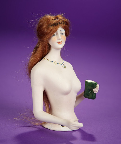 """German Bisque Half-Doll """"Lady with Beaded Necklace and Book"""" 200/400"""