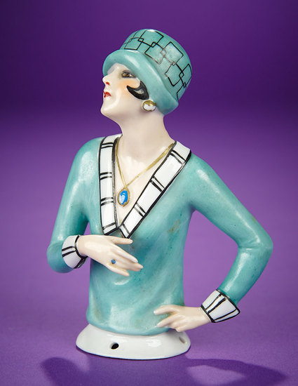 """German Porcelain Half-Doll """"Flapper with Blue Stone Necklace and Ring""""  300/400"""