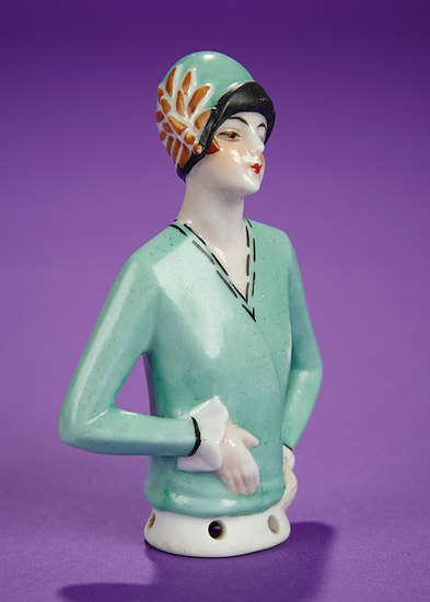 """Petite German Porcelain Half-Doll """"Flapper with Embroidered Cloche"""" 100/200"""