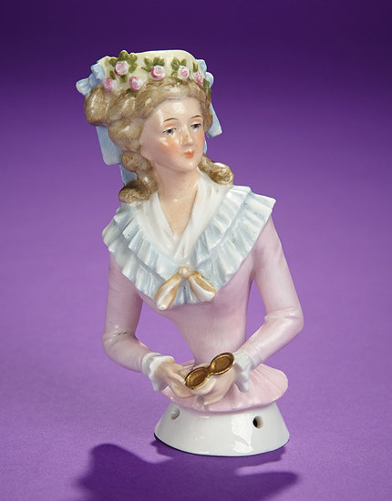 "German Porcelain Half-Doll ""Lady with Rare Garland Trimmed Bonnet"" 300/400"