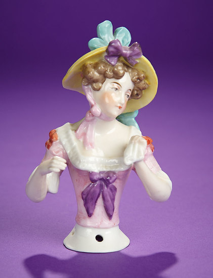 """German Porcelain Half-Doll """"Lady in Yellow Bonnet with Tri-Color Ribbons"""" 200/400"""