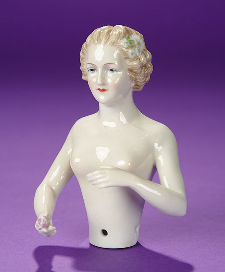 """German Porcelain Half-Doll """"Lady with White Flowers in Hair"""" by Kister 300/500"""