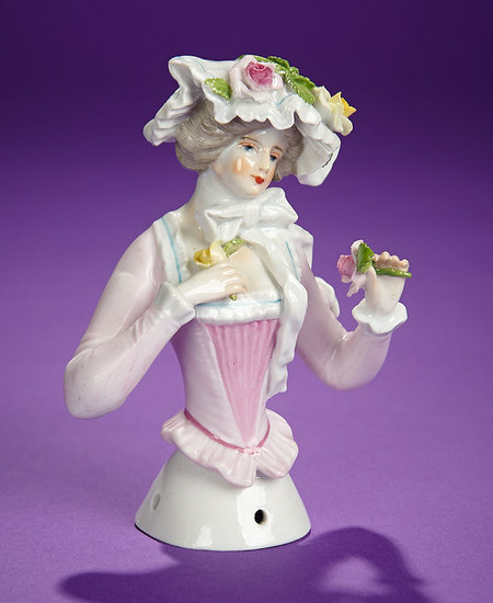 """German Porcelain Half-Doll """"Lady with Fancy Bonnet and Streamers"""" 300/500"""