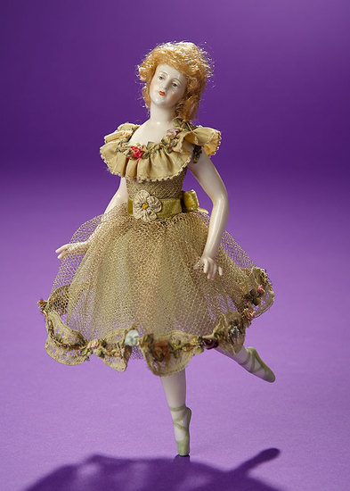 German Porcelain Ballerina Posed En Pointe by Dressel & Kister with Rare Jointed Arms 400/600