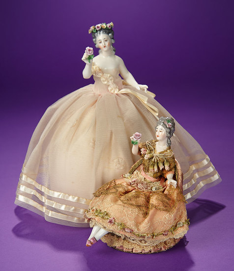"""German Porcelain Half-Doll """"Lady with Garland Coronet"""" by Dressel & Kister 300/500"""
