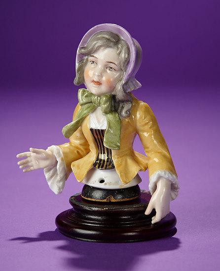 German Porcelain Half-Doll Depicting Purple Bonnet Girl, Unique Pose by Dressel & Kister 400/600