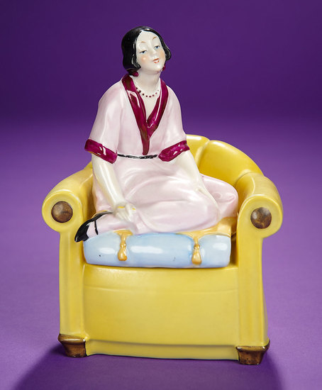 """German Porcelain Box """"Japanese Lady Seated on Yellow Chair"""" 300/500"""
