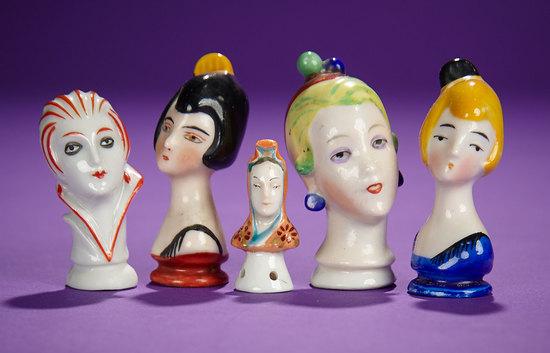 Five German Porcelain Pincushion Heads in Stylized Art Deco Manner 200/400
