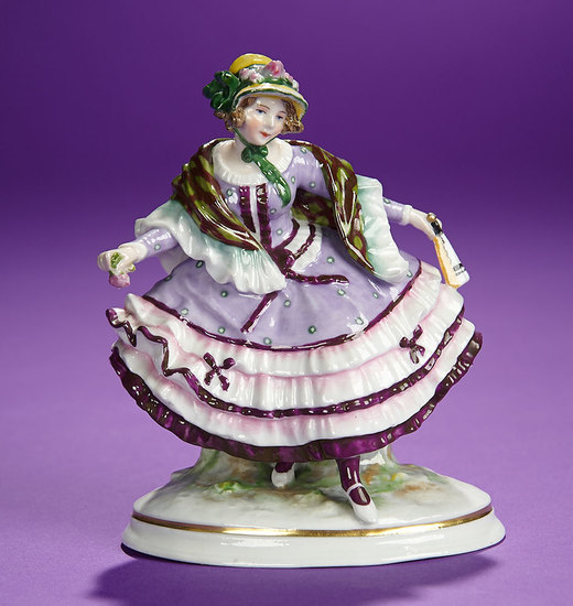 """Delightful German Porcelain """"Young Girl in Dainty Curtsy"""" by Ernst Bohne Sohne 300/500"""