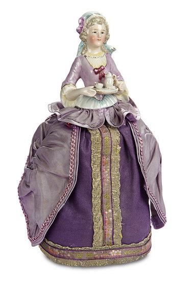 "German Porcelain Half-Doll ""Lady Serving Cocoa"" as Pincushion 300/500"