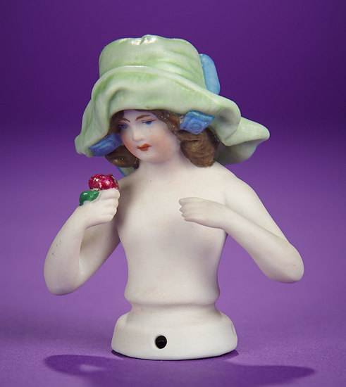 "German Bisque Half-Doll ""Child in Green Floppy Hat""  100/200"