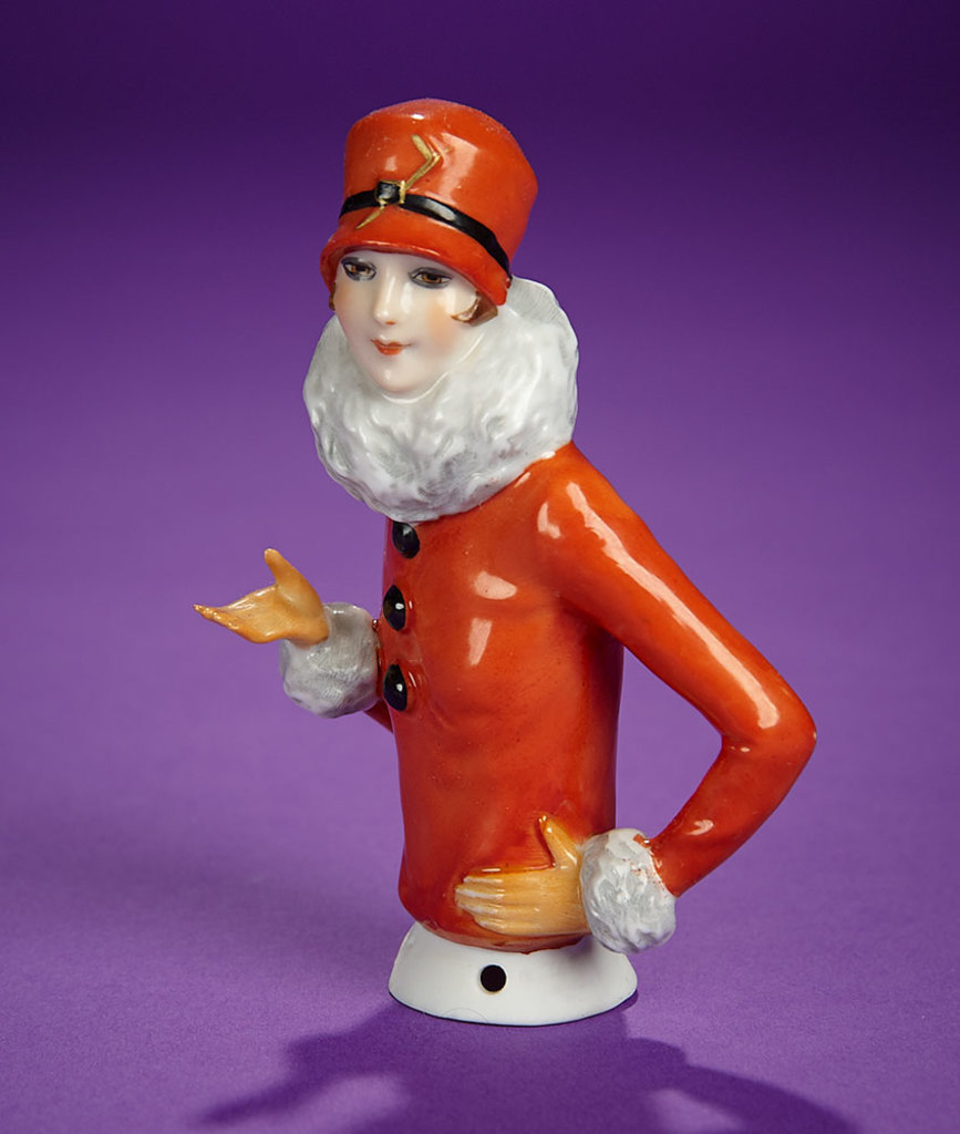 "German Porcelain Half-Doll ""Flapper Lady in Stylish Costume""  200/300"