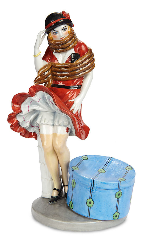 "Very Rare German Porcelain ""Lady with Wind-blown Skirt"" by Dressel & Kister  800/1000"