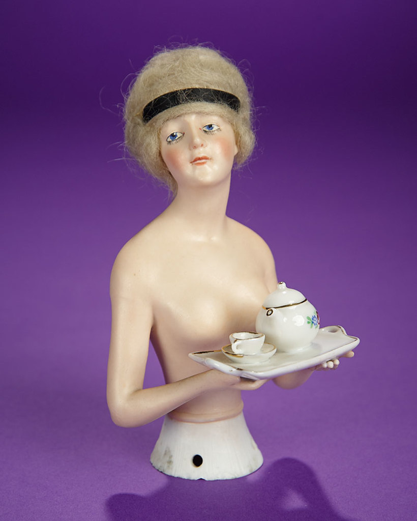 """German Bisque Half-Doll """"Wigged Lady with Cocoa Pot"""" by Goebel 300/500"""
