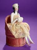 German Porcelain Half-Doll in Rare Costume on Nina Ricci Powder Box 700/900