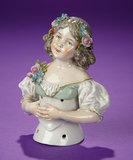 German Porcelain Half-Doll with Uniquely Sculpted Clasped Fingers by Ernst Bohne Sohne 400/600