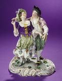 German Porcelain Figurine Depicting 18th Century Romantic Couple by Dressel & Kister 400/600