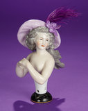 German Porcelain Half-Doll Portraying Actress, Madame Mole Raymond, Dressel & Kister 500/800