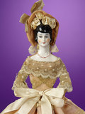 German Porcelain Flat-Back Lady Presented as Sewing Necessaire 300/400