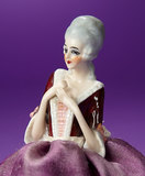 German Porcelain Half-Doll in Seated Pose as Pincushion 200/300