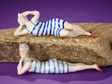 Two German Bisque Bathing Beauties with Striped Swimsuits 200/300