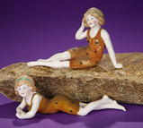 Two German Bisque Bathing Beauties in Rare Flocked Swimsuits 200/400