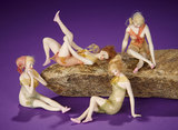 Four Petite German All-Bisque Wigged Bathing Beauties with Net Swimsuits 600/800