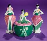 German Porcelain Toilette Set with Flapper Dolls 200/300