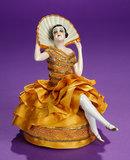 German Porcelain Flapper Lady with Fan as Pincushion 200/300