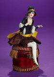 German Porcelain Half-Doll as Stylish Flapper Lady on Cushion 200/300
