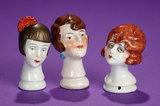 Trio of German Porcelain Flapper Heads for Pincushions 100/200