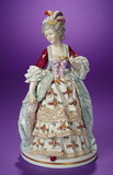 German Porcelain Figurine of 18th-Century Lady, Plumed Coronet by Aelteste Volkstedter 400/600